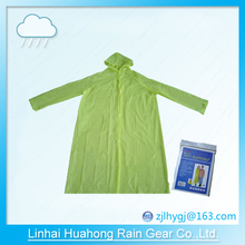 PE PEVA before open long gown raincoat with inner buckle