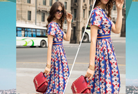 Famous Brand Design woman maxi dress new design floral slim ladies long tall tube sexy chiffon dress 2015