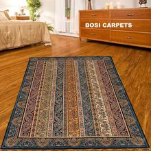 4'x6' Classic blue border stripes modified Persian Handmade Silk Rug