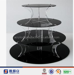 2015 Hot Sale Manufacturer Custom 3 Tier Crystal Clear Acrylic Round Cake Cupcake Stand