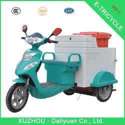 500W garbage trash collecting electric tricycle used with 240L plastic dustbin