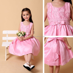 Embroidered Simple Pink Pakistani Children Frocks Designs With Beading Bow Baby Girls Dresses