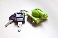Unique design ABS&stainless steel tank shape red color plastic keyring