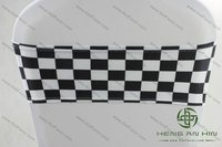 black and white spandex/ lycra checked chair bands/ sash/ bows SPsb-JYbw