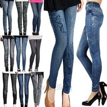 2014 pequeñoshotsell elástico polainas, las mujeres impreso medias calzas pantalones vaqueros