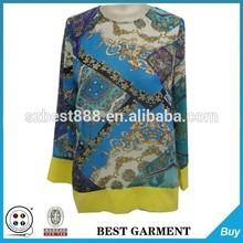 Cuello redondo mujeres blusa formal diseños para seniors