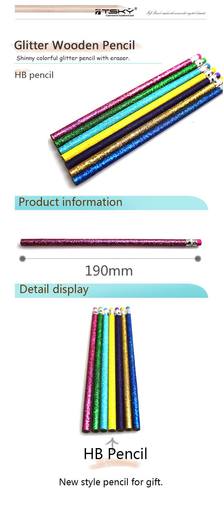 Блеск деревянные карандаш с ластиком для подарок и продвижение