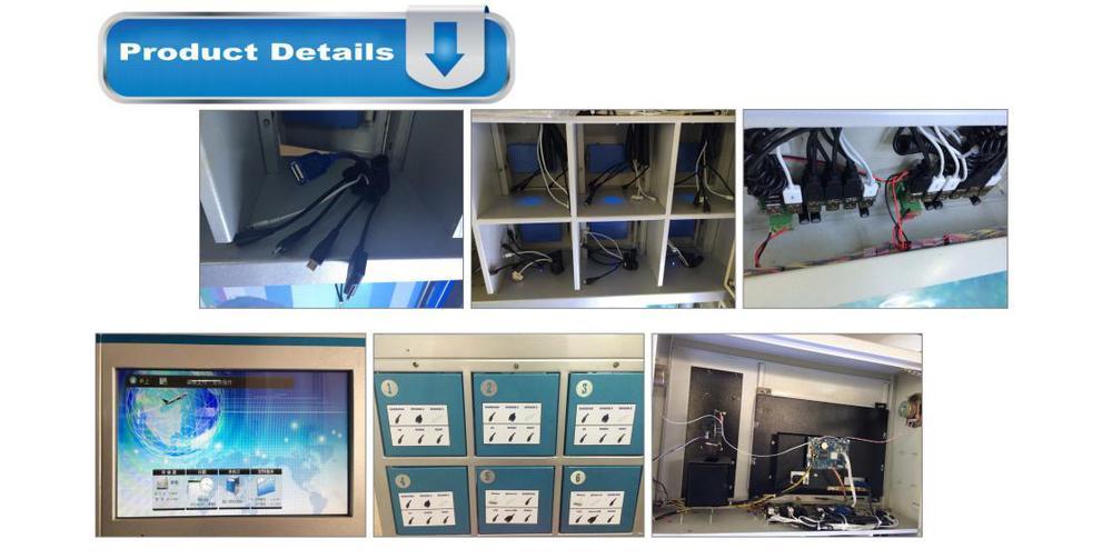 Telefone celular estação de carregamento quiosque com LCD