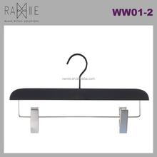 Ramie Hanger, Mannequin, Rack & Paper Products supplier: Black Wooden Pants Hanger With Metal Clips