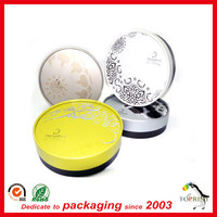 empty paper round powder tube blush loose compact powder case with puff