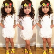 MS65419C half sleeve color white kids girls lace dress