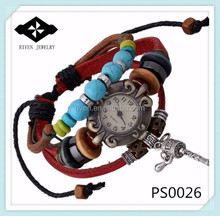 PS0026 Personalized Natural Turquoise Stone men leather watches 2015