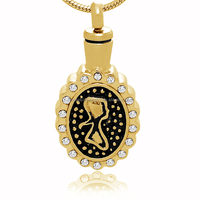 Best Selling Funeral Memories Jewelry Wholesales Stainless Steel Christianity Angel Mary Portrait Cremation Ash Pendant With CZ