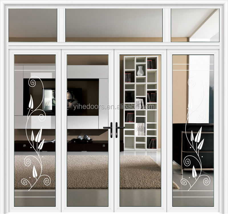 Luxury White Color Decorated Aluminum Frame Interior Frosted Glass