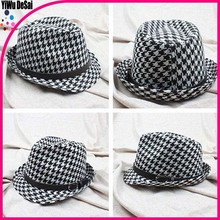 Men and women with sun hat Cloth art Adult jazz cap hat black and white houndstooth Adult jazz cap hat