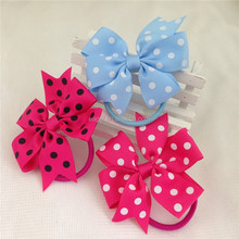 3inch high quality ribbon polka dot hair bows with same color elastic band for kids children pony tail holder