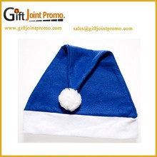 Promotional Customized LOGO Blue Felt Christmas Hat, Santa Hats