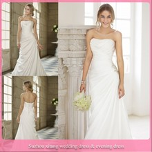 D248 branco elegante chiffon tecido vestido de noiva simples estilo plissado e frisado na cintura do vestido de casamento