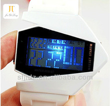 New fashion colorful aircraft shape sports led digital display watch dual time watch