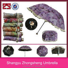 new products black glue UV protect manual open ladies fold umbrella for wholesale
