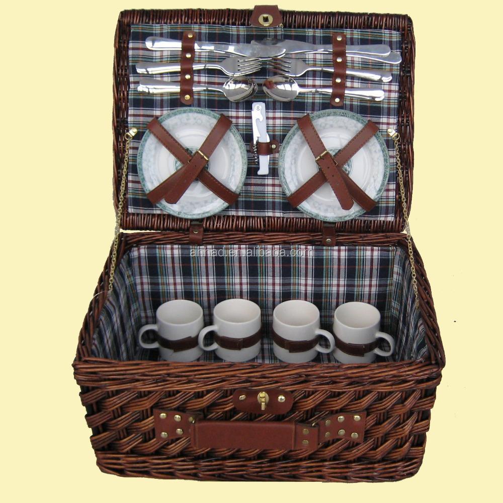 Picnic Basket Dish Set : Wicker willow picnic basket with dinnerware buy