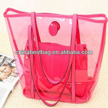 promotional summer transparent handbags fashion transparent handbags beach bag cheap promotional bags plastic tote bag with zip