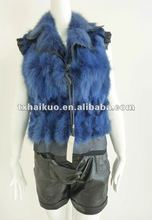 Fashionable real rabbit fur vest with lapel collar and flouncy sleeves for ladies