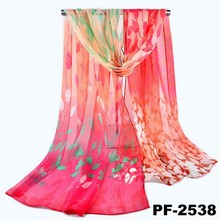 Custom design top quality digital printing tree branch printed fashion silk scarf chiffon long scarf