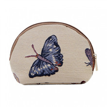 Plain canvas makeup bag embrodery butterfly