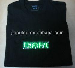 2015 latest customize el illuminated led t shirt with scrolling english message badge