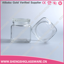 square clear glass candle jar with glass lid