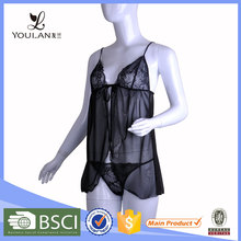 Best Design Sexy Slit Matching Thong Polyester Fat Woman Lace Nighty Lingerie