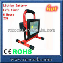 2012 new-design CE SAA IP65 Bridgelux Battery Powered Portable Rechargeable LED flood light for outdoor lighting