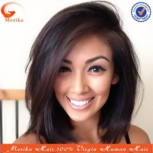 Glueless 100% human hair full lace wig, side part short bob wigs for black women