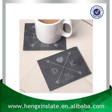 Wholesale Handmade 12*9*0.5cm Rectangle Black Promotion Slate Placemat With Laser Design(Customized ) Tea & Coffee Requirements