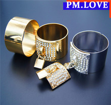 custom made fashion big size Bangles new trend Crystal 24K Gold Bracelets