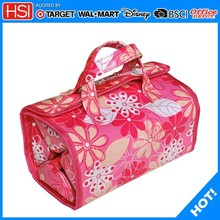 folding waterproof pvc leather travel hanging toiletry bag for women