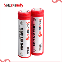 Sincereboss best quality 700mah 3.7v icr 14500 battery with protected PCB flat top litium ion batteries made in China