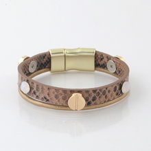 2015 europe vintage snake bangles for women, rivit leather bracelet with metal clasp