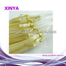 Good reputation trust beautiful Blonde Virgin Peruvian micro fiber hair extensions