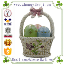 factory custom-made handmade carved fashion polyresin easter egg decoration