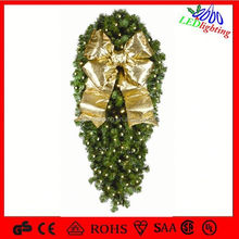 LED Christmas garland wreath light with bow
