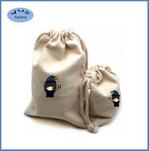 Custom made printing cotton canvas gift bags with braid cord