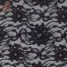 More Fashion Design High Quality Popular Black Nylon Rayon Lace Fabric Stories In China