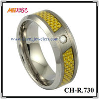 2014 fashion yellow carbon fiber ring tungsten