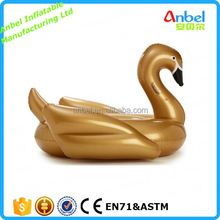Giant Gold Swan Swimming Ring Rideable Inflatable Swan Pool Float Toy