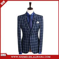 Business Navy Blue Wedding Suits For Men Suits Jacket Pants Vest 3 Pieces Blazer