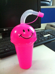 250ml Halloween Smile Face Plastic Cup with Straw,kid's cup with funny shape,plastic cup with straw