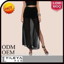 transparente de moda sexy largo falda más reciente diseño de imágenes
