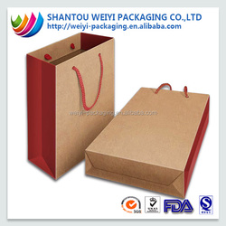 China cheap recycle brown kraft craft shopping paper bag